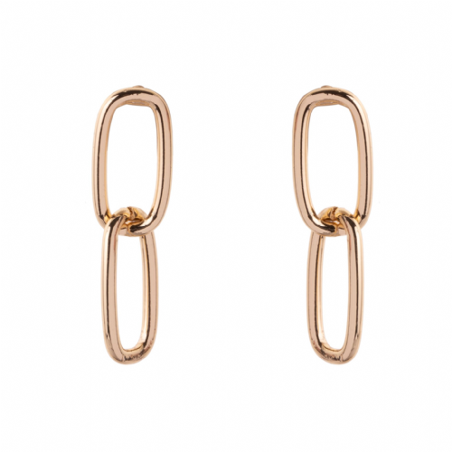 Bisoux Jewellery Small Double Link Earrings in Gold